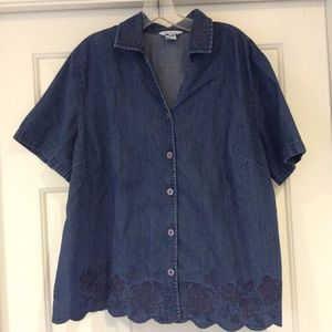 Koret City Blues Denim Embroidered Shirt Size 20W